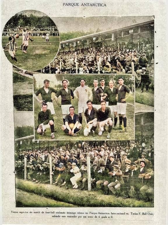 Amistoso entre Internacional e Torino, realizado no estádio do Parque Antarctica, em 1914, quando o time italiano goleou o brasileiro por 6 a 0