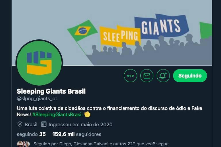 Perfil no Twitter do Sleeping Giants