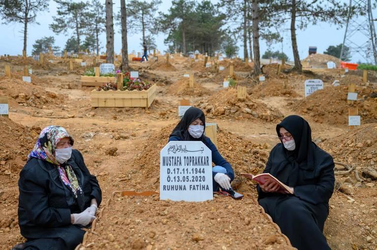 Três mulheres, vestidas de preto e usando máscaras, estão sentadas ao lado de uma sepultura