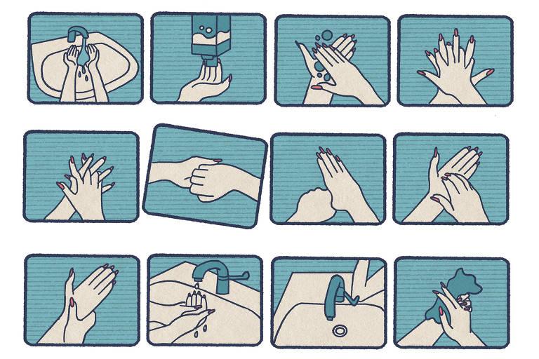 Ilustração mostra, em doze quadrinhos, processo de mãos sendo lavadas repetitivamente