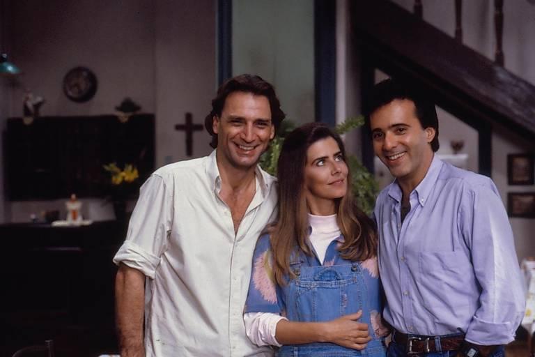 Da esq. para à dir., os atores Herson Capri, Maitê Proença e Tony Ramos, em cena da nova 'Felicidade'