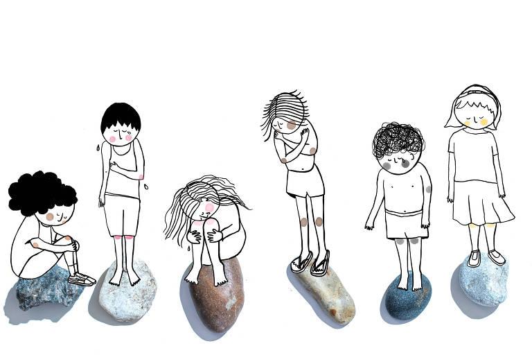 Ilustração de seis crianças com expressões abatidas, sobre pedras