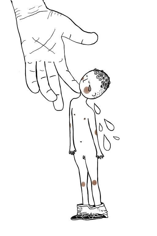 ilustração da Luiza Pannunzio mostra um menino nu que está sendo tocado no queixo por uma mão gigante