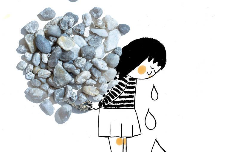 ilustradção da Luiza Pannunzio mostra uma menina chorando com pedras em suas costas; uma mão gigante deposita uma pedra maior ainda no monte