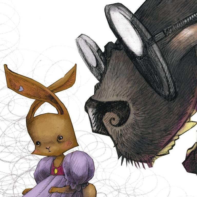 Ilustração de coelha com vestido ao lado de animal maior com focinho grande e óculos