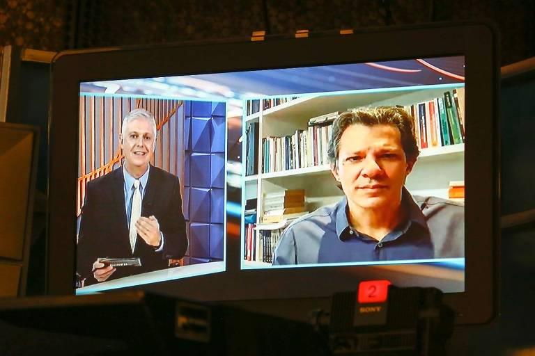 O ex-candidato à Presidência Fernando Haddad (PT) em entrevista ao jornalista Fernando Rodrigues, no Poder em Foco, do SBT.