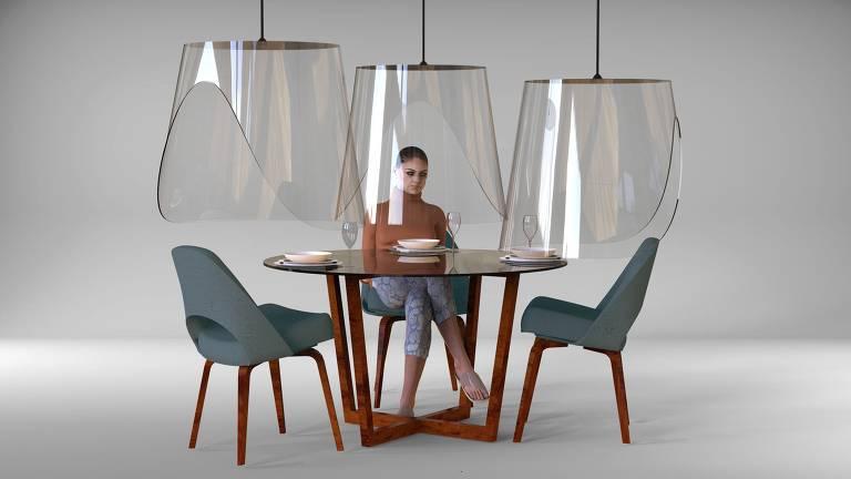 Christophe Gernigon projetou o cilindro Plex'Eat, que permite que clientes de restaurantes comam próximos uns aos outros sem risco de contágio