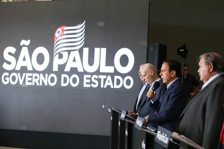 O governador de São Paulo, João Doria (PSDB), durante entrevista sobre coronavírus no Palácio dos Bandeirantes