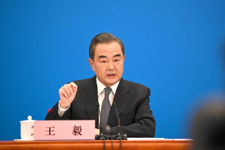 O ministro das Relações Exteriores da China, Wang Yi, em entrevista coletiva