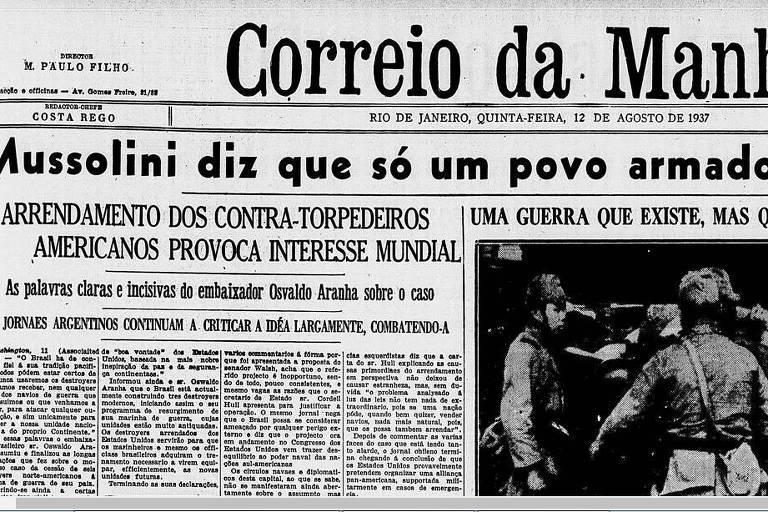 Reprodução de capa do jornal Correio da Manhã de 1937.