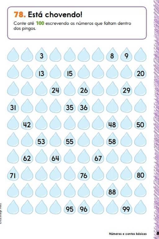 Ilustração de cem gotas de água onde a criança deve escrever os números de 1 a 100