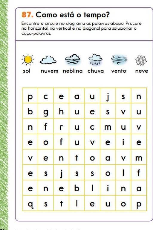 """Caça às palavras ligadas ao clima, como """"chuva"""", """"sol"""" e """"neblina"""""""