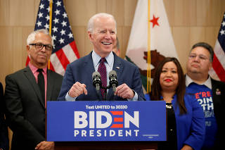 FILE PHOTO: Democratic U.S. presidential candidate and former Vice President Joe Biden speaks during a campaign stop in Los Angeles