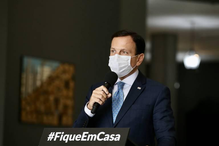 O governador de São Paulo, João Doria, durante entrevista sobre a pandemia da Covid-19