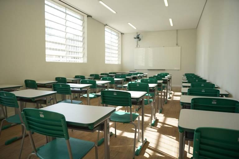 Escola Nova Raul Brasil, em Suzano, após seis meses de reforma que começou em outubro de 2019