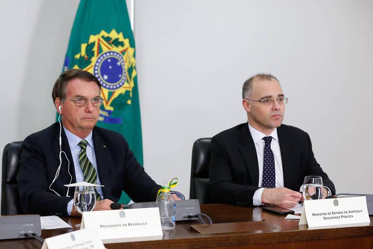 Bolsonaro e André Mendonça, ainda ministro da Justiça, na posse virtual de Luís Roberto Barroso no TSE