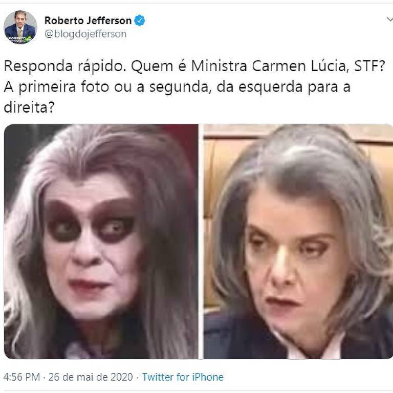 foto do personagem de vampiro do chico anisio comparado a ministra carmen lucia
