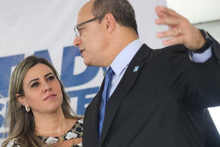 O governador do Rio de Janeiro, Wilson Witzel, com a esposa, Helena Witzel, participam de evento em dezembro de 2019