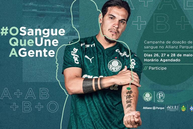 Gustavo Gómez participa de campanha de doação de sangue do Palmeiras durante a pandemia de coronavírus