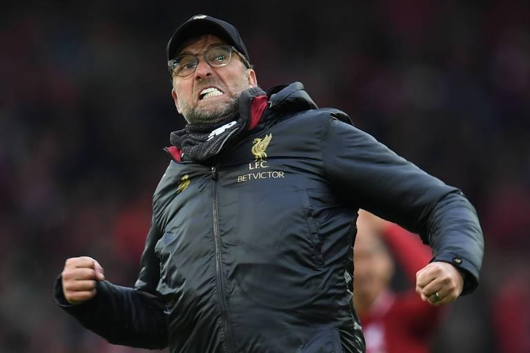 O técnico Jurgen Klopp, do Liverpool, líder disparado da Premier League