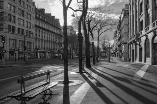 Boulevard de Bonne-Nouvelle in Paris, famously photographed by Eugene Atget in the early 20th century, on April 12, 2020. (Mauricio Lima/The New York Times)