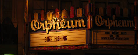 The Orpheum Theater in Los Angeles, Calif., on March 21, 2020. The great movie palaces of Los Angeles have withstood much upheaval over the decades. Now closed because of the coronavirus, they await their fate in silence. (Kate Warren/The New York Times) ORG XMIT: XNYT127