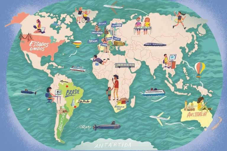 Ilustração de mapa-múndi com ícones de transportes e crianças espalhados pelos países