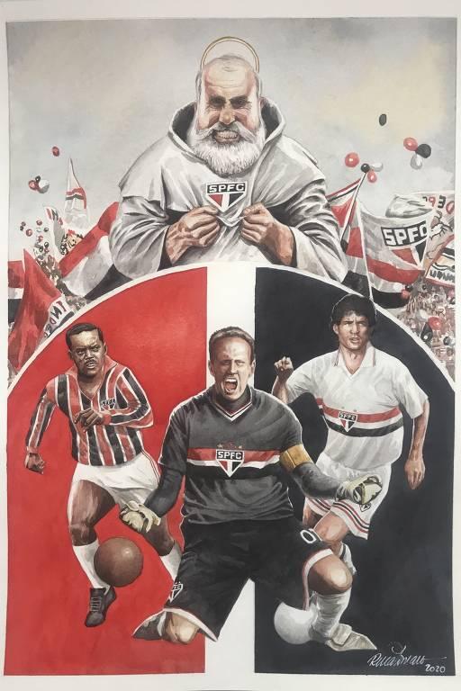 """Produto oficial do clube, HQ contará a história de 90 anos do São Paulo. Quem narrará a trajetória tricolor é o mascote Santo Paulo, que foi """"testemunha ocular de tudo"""", segundo Rafael Spaca, autor da ideia"""