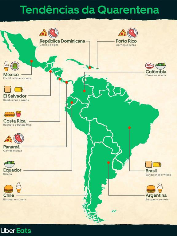 Relatório do Uber Eats aponta quais comidas estão em alta na quarentena na América Latina