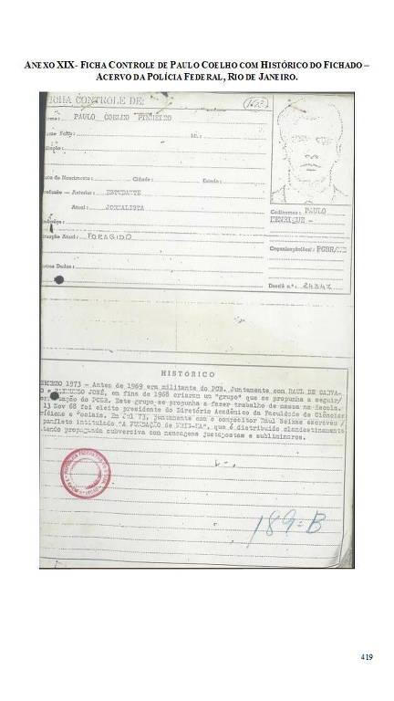 Documento sobre Paulo Coelho Pinheiro, publicado em 1973