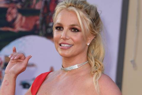 (FILES) In this file photo taken on July 22, 2019 US singer Britney Spears arrives for the premiere of Sony Pictures'