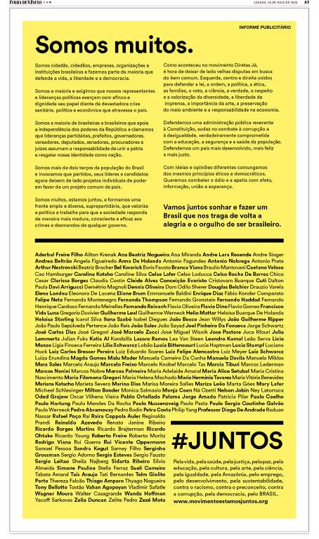 Reprodução de anúncio publicado na pág A5 da Folha de S.Paulo de 30.mai.2020. Foto: Reprodução