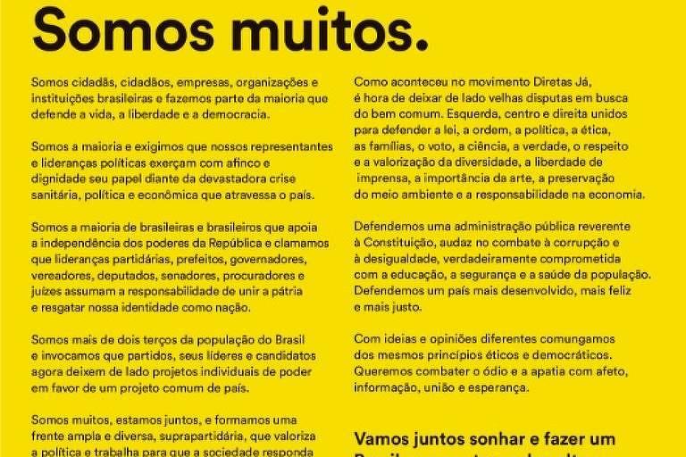 Manifesto a favor da democracia une personalidades de ideologias diversas