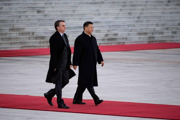 Presidente Jair Bolsonaro com o dirigente chinês Xi Jinping, em outubro de 2019, em Pequim