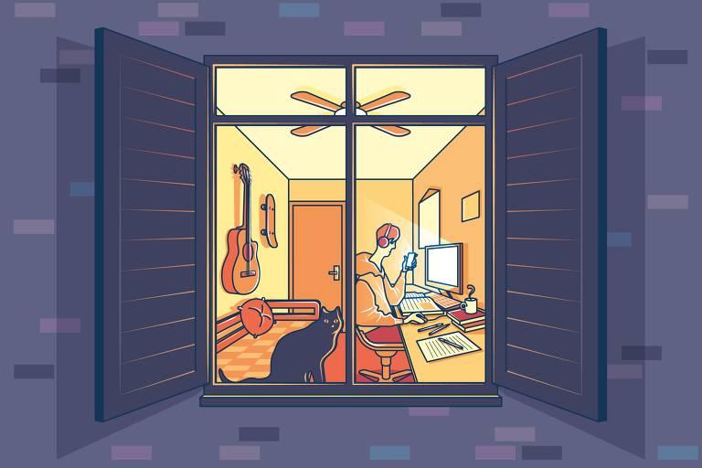 Ilustração mostra uma fachada em tons de azul escuro onde, por uma janela aberta com tons amarelados sugerindo uma luz acesa, é possível ver um jovem sentado à frente do computador segurando um celular e estudando com livros, cadernos, canetas e uma xícara de café dispostos em cima da mesa. Na parede que está atrás do jovem estão pendurados um violão e um skate, logo acima de uma cama e na janela, encostado no vidro está um gato olhando para fora.