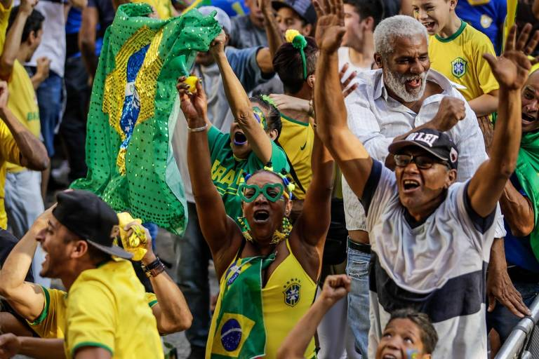 Torcedores em São Paulo durante a Copa do Mundo de 2018