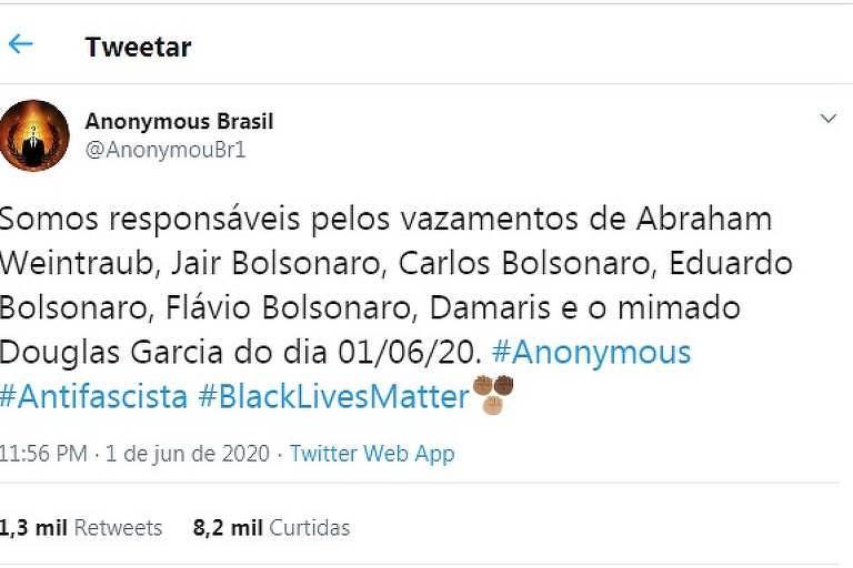Perfil do grupo Anonymous Brasil afirmando que foi responsável por hackear documentos de Bolsonaro