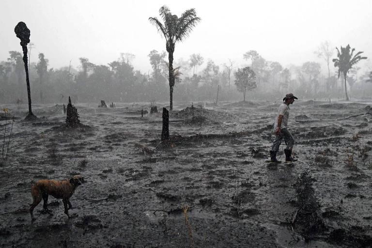 O fazendeiro Helio Lombardo do Santos e um cachorro caminham por uma área queimada da floresta amazônica, perto de Porto Velho, em Rondônia. O desmatamento na Amazônia brasileira atingiu um novo recorde nos quatro primeiros meses deste ano, segundo dados divulgados em maio, uma tendência preocupante após a devastação causada por incêndios recordes no ano passado - 26.ago.2019