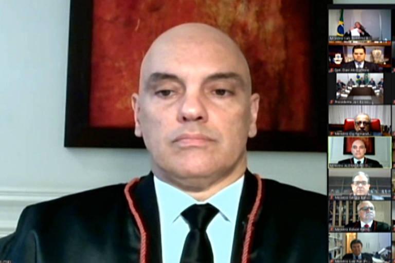 Em cerimônia virtual por videoconferência, o ministro do STF Alexandre de Moraes toma posse como ministro do TSE nesta terça (2)