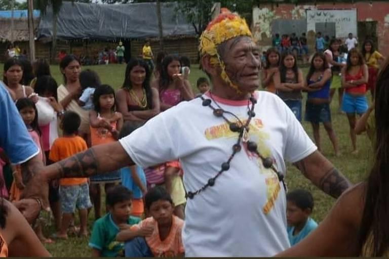 Cacique mundurucu Vicente Saw durante celebração na TI Munduruku (PA)