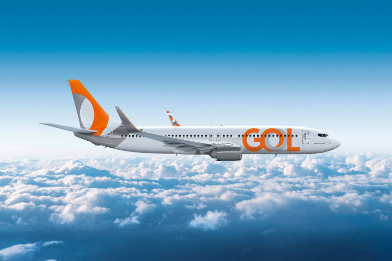 Avião da companhia aérea Gol durante voo