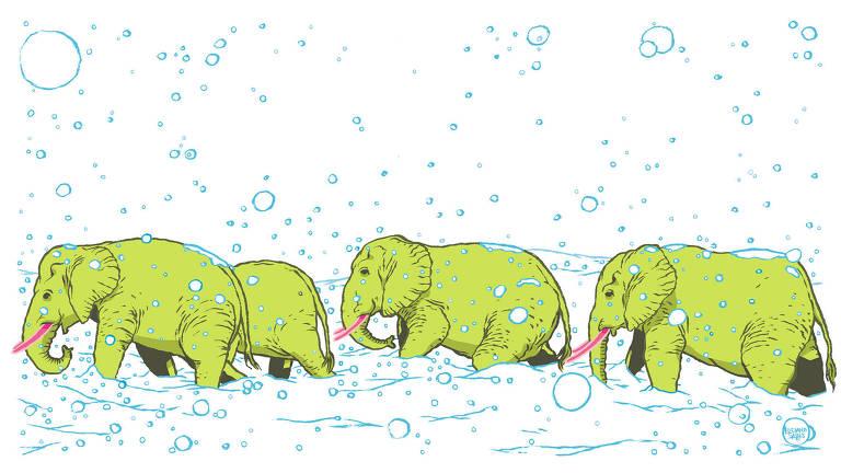Ilustração de quatro elefantes africanos verdes andando enfileirados no meio de uma nevasca