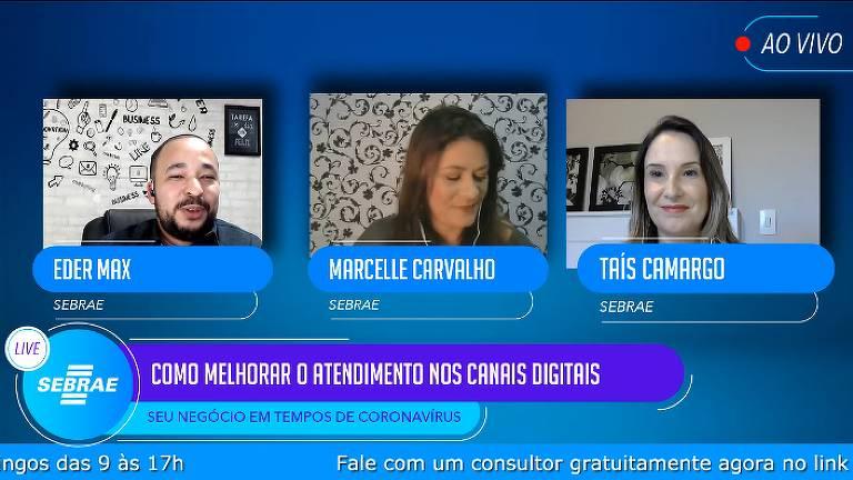 Live do Sebrae sobre como melhorar o atendimento nos canais digitais