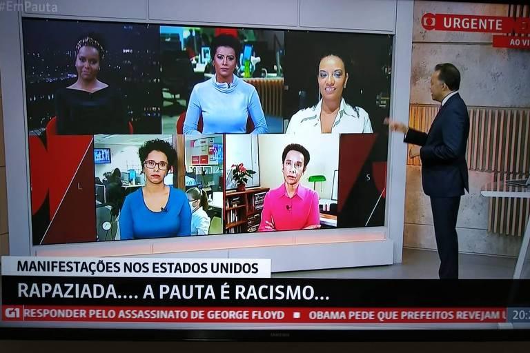 Heraldo Pereira comanda Em Pauta com as jornalistas Maria Júlia Coutinho, Zileide Silva,  Aline Midlej, Flávia Oliveira e Lilian Ribeiro