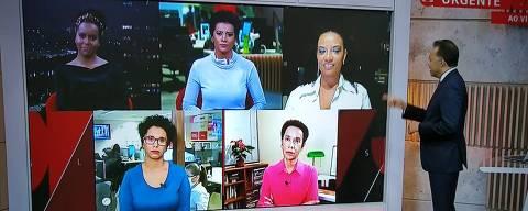 Heraldo Pereira comanda o programa Em Pauta com as jornalistas Maria Júlia Coutinho, Zileide Silva,  Aline Midlej, Flávia Oliveira e Lilian Ribeiro
