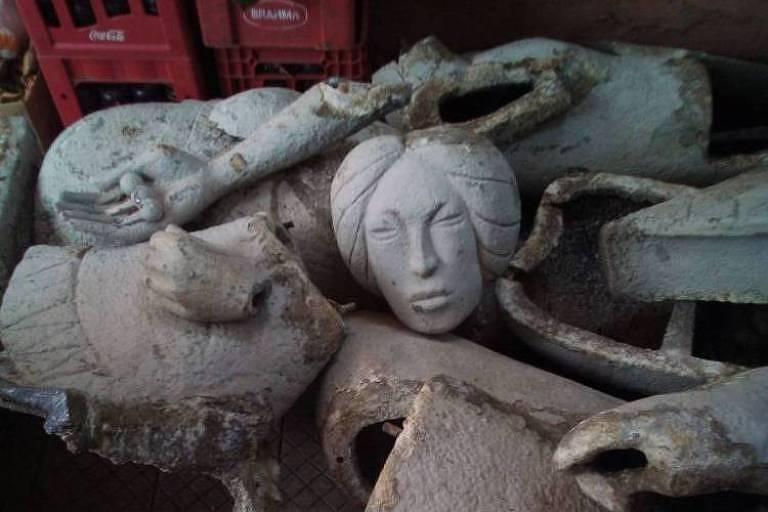Escultura marco de Fortaleza é encontrada aos pedaços após desaparecer