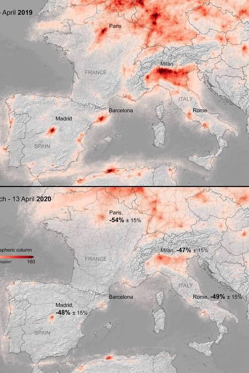 Imagem feita pela Agência Espacial Europeia mostra queda na concentração de dióxido de nitrogênio na Europa durante medidas de isolamento social