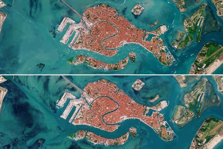 Imagem de satélite mostra redução da movimentação náutica em Veneza entre abril de 2019 e abril de 2020