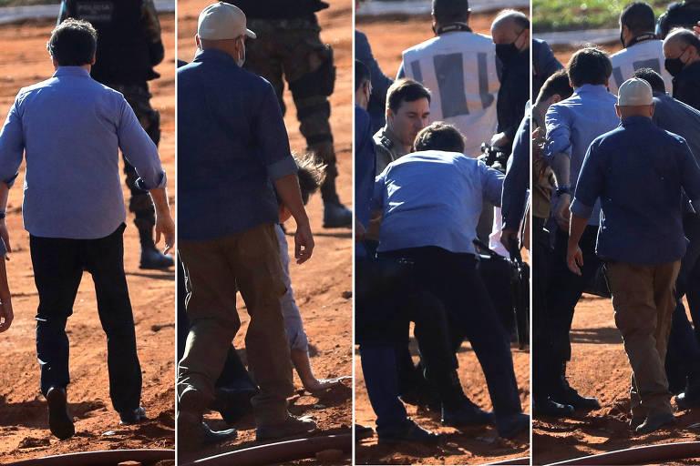 Montagem mostra quatro fotos de presidente Jair Bolsonaro, Na primeira ele perde o equilíbrio, na segunda, ele está caído com as mãos no chão, na terceira se levanta com ajuda de pessoas ao redor e na última está de pé. Ele veste camisa social azul e o chão do local é de terra batida.