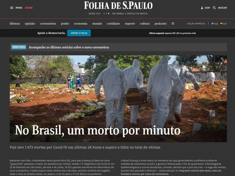 Homepage da Folha em 4/6, dia em que Brasil bateu marca de um morto por minuto de Covid-19